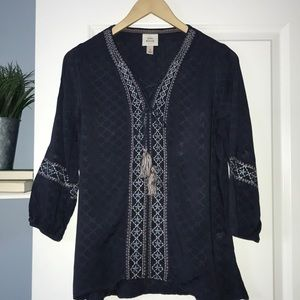 Knox Rose Embroidered Boho Style Blouse